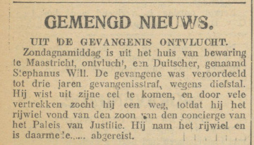 9. DeMaasbode_03-06-1913 Uit de Gevangenis ontsnapt (Huis van Bewaring).jpg